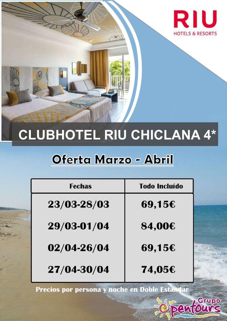 ClubHotel Riu Chiclana **** (Chiclana de la Frontera, Cádiz, Andalucía, España) ---- Especial MARZO y ABRIL 2018 - Desde 69,15 € por persona y noche en TI ---- Resto condiciones de esta oferta en www.opentours.es ---- Información y Reservas en tu - Agencia de Viajes Minorista - ---- #hotelriuchiclana #riuchiclana #clubhotelriuchiclana #riuhotels #todoincluido #chiclana #cadiz #costadelaluz #andalucia  #verano2018 #escapadas #reservas #hoteles #vacaciones #estancias #ofertas #actividades…