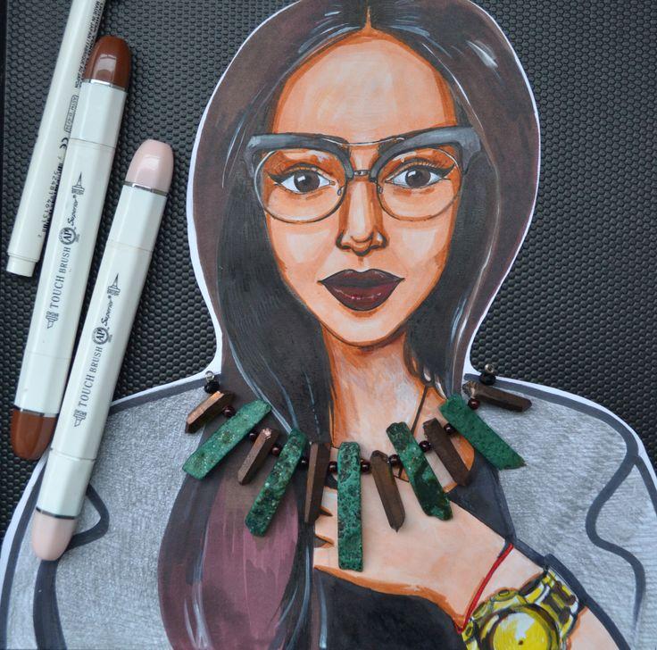 Рисунок маркером. Марина Никитина. Набросок.Портрет
