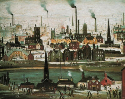 Industrial Landscape (The Canal), Manchester, England, United Kingdom, 1950, by L S Lowry.