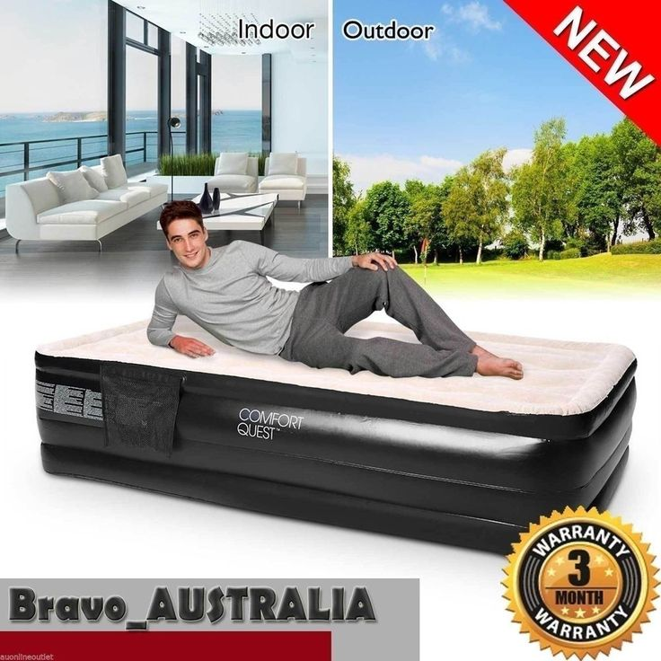Bestway Flocked Camping Inflatable Mattress Air Bed Single Built-in Pump New