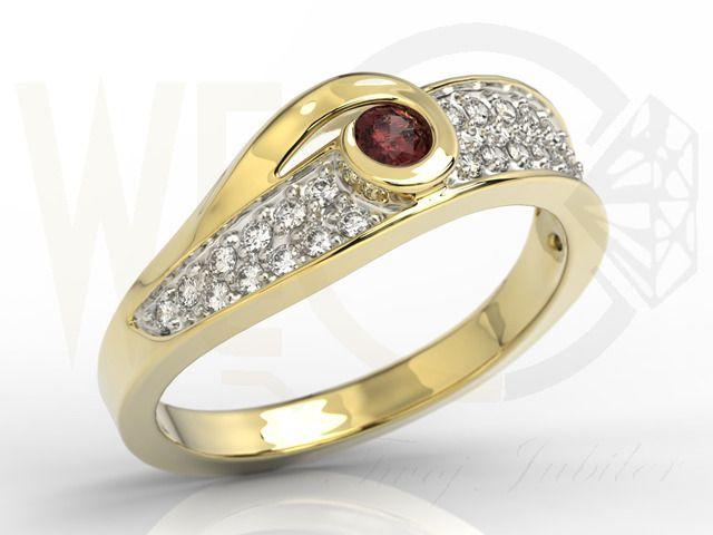 Złoty pierścionek z diamentami oraz wspaniałym granatem. /3149 PLN/  Ring with diamonds and grenade.