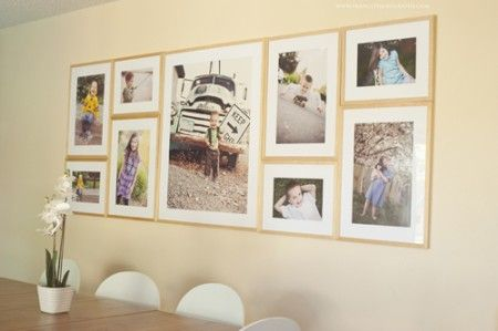 Love this photo layout for a gallery wall. Check out the link for more photo wall ideas. Via the creative mama
