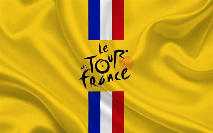 Lataa kuva Tour de France, 2017, pyöräily, tunnus tour de france, keltainen silkki, lippu