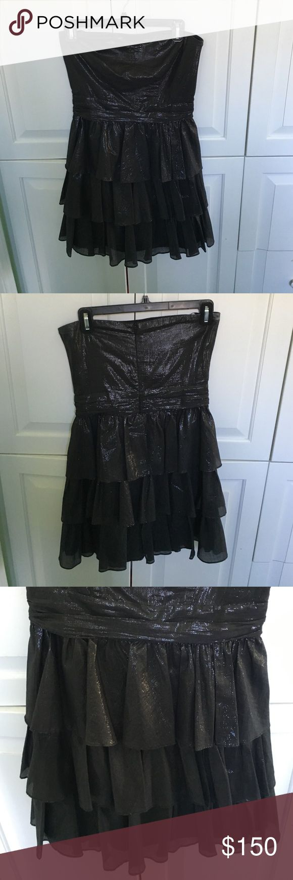 Cocktail attire dress Black/metallic color, Ruffles, worn once Charlotte Ronson Dresses Strapless