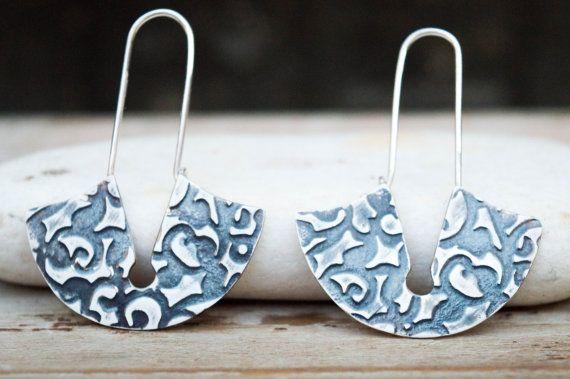 Sterling silver earrings Artisan earrings Statement by SILVERstro