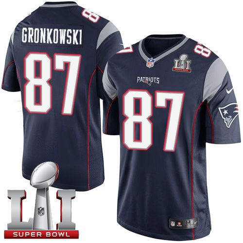 nike patriots rob gronkowski navy blue team color super bowl li 51 youth stitched nfl limited jersey and broncos demaryius thomas 88 jersey