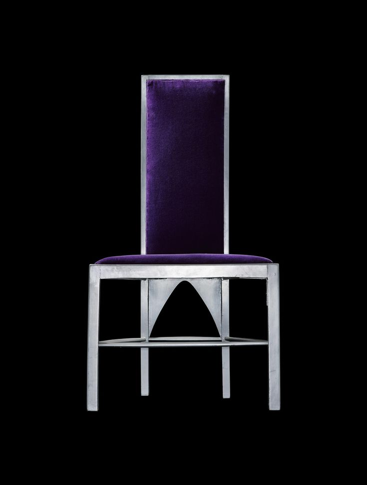 Chair, painted silver, with purple velvet upholstery, designed by Charles Rennie Mackintosh for the Room de Luxe at the Willow Tea Rooms, Sauchiehall Street, Glasgow, 1903.