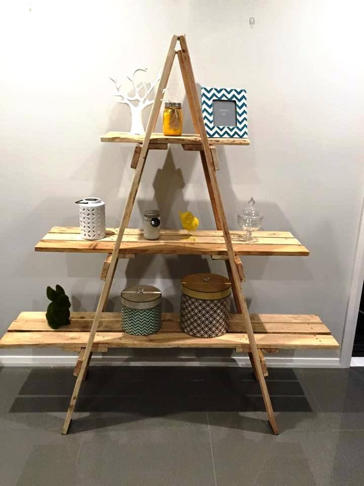 Creating Shelving Unit Out OF Wooden Ladder