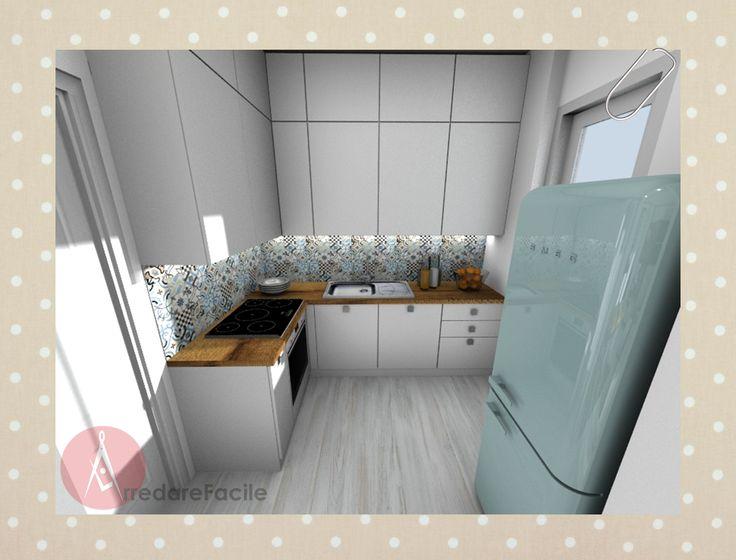 Cucina ristrutturata, con rivestimento in cementine e frigo Smeg ...