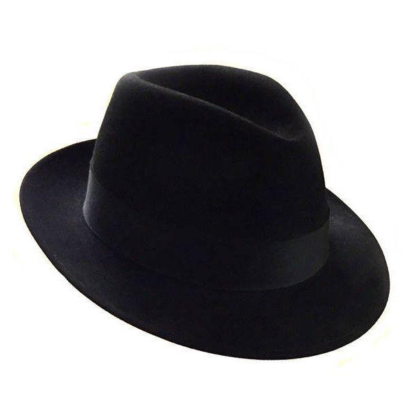1950 S Dobbs Fifth Avenue Black Fedora Size 7 1 4 Fur Felt Fedora Hat 67 Liked On Polyvore Featuring Accessories H Black Fedora Butterfly Hat Felt Fedora