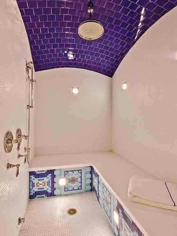 Tile backsplash mosaic tiles mosaics and tile for Bathroom ceiling material ideas