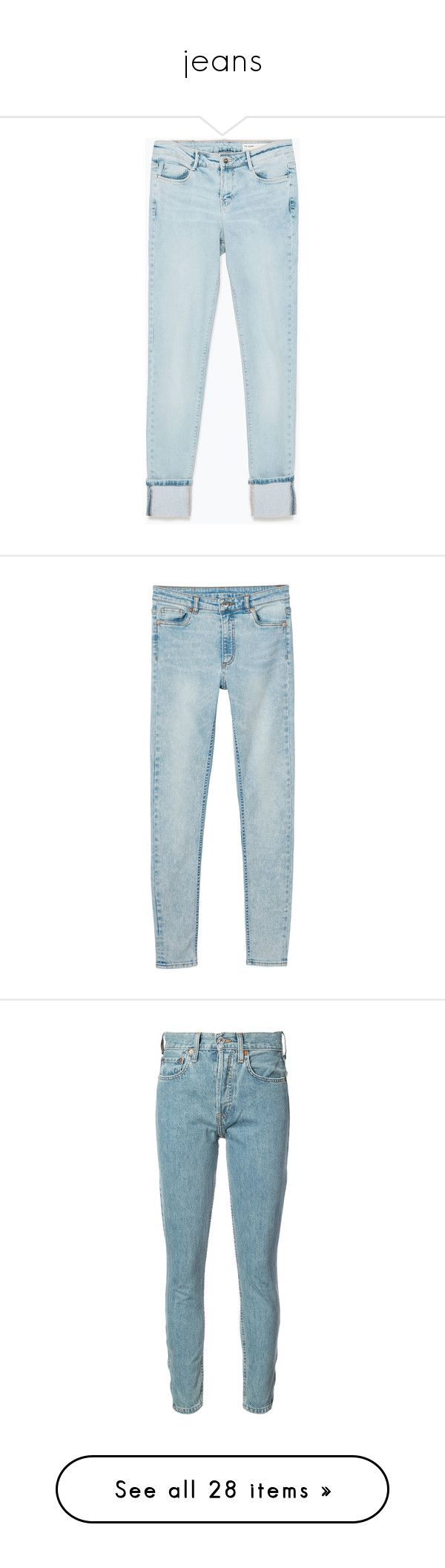 """""""jeans"""" by veronicagnzlz ❤ liked on Polyvore featuring jeans, pants, bottoms, denim, light blue, blue jeans, light blue jeans, zara jeans, clothes - pants and monki"""