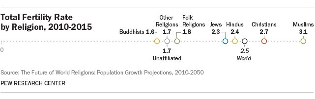 Total Fertility Rate by Religion, 2010-2015