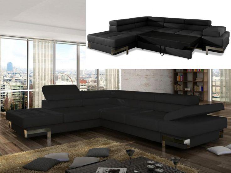 Canapé d'angle convertible en simili DAMIEN - Noir - Angle droit