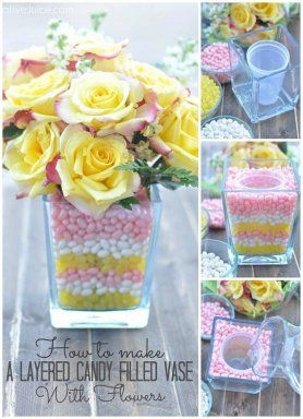 Centro de mesa con flores y dulces En tu centro de mesa también puedes usar flores y dulces, prueba de ello es este tutorial.