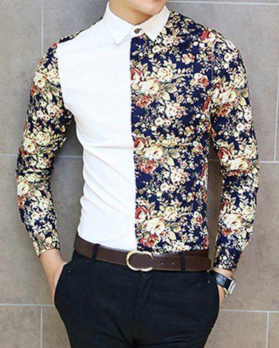 Slimming Trendy Shirt Collar Flower Print Color Splicing Long Sleeve Cotton Blend Shirt For Men