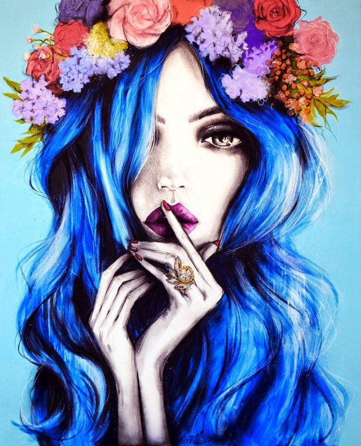Нарисованные девушки цветные картинки