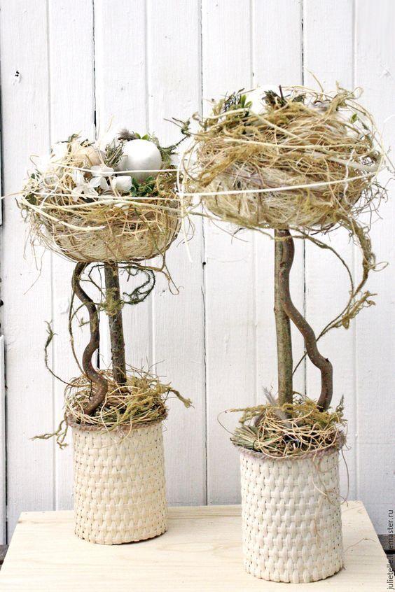 Купить Пасхальный Топиарий Гнездо - бежевый, пасхальное дерево, пасхальный сувенир, декор на пасху, подарок: