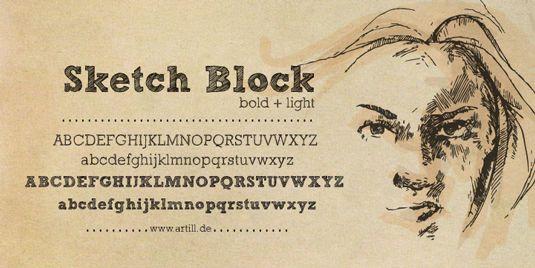 Free handwriting fonts: Sketch Block