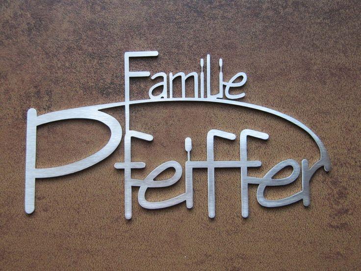 Namensschild / Türschild aus Edelstahl 20cm breit von Edelstahlschilder auf DaWanda.com