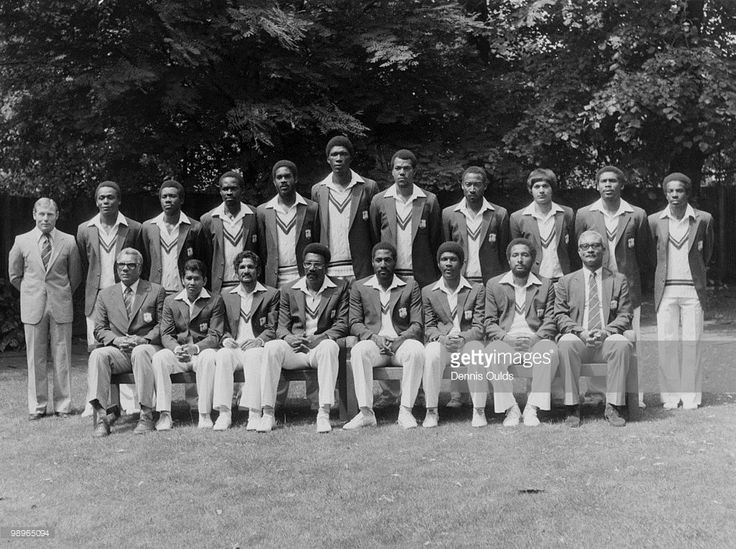 The West Indies touring team, 20th June 1980. Back row, left to right: physio D.J. Waight, Desmond Haynes, Malcolm Marshall, Collis King, <a gi-track='captionPersonalityLinkClicked' href=/galleries/search?phrase=Michael+Holding&family=editorial&specificpeople=532045 ng-click='$event.stopPropagation()'>Michael Holding</a>, Joel Garner, Colin Croft, D Parrey, Faoud Bacchus, Gordon Greenidge and David Murray. Front row, left to right: manager Clyde Walcott, Alvin Kallicharran, Deryck Murray…