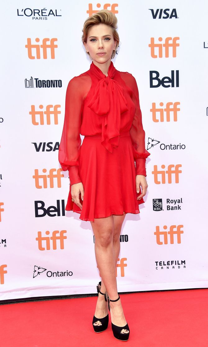 TIFF 2016 Best Dressed on the Red Carpet - Scarlett Johansson in a red mini dress