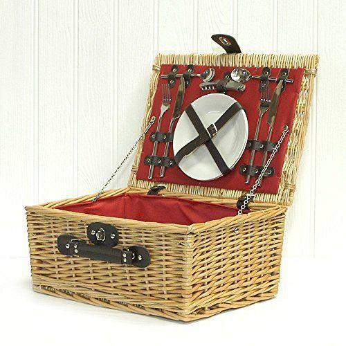 Luxe Doublure Rouge Country Panier de pique-nique en osier 2personnes avec accessoires–Idées cadeau pour–Fête de mères,…