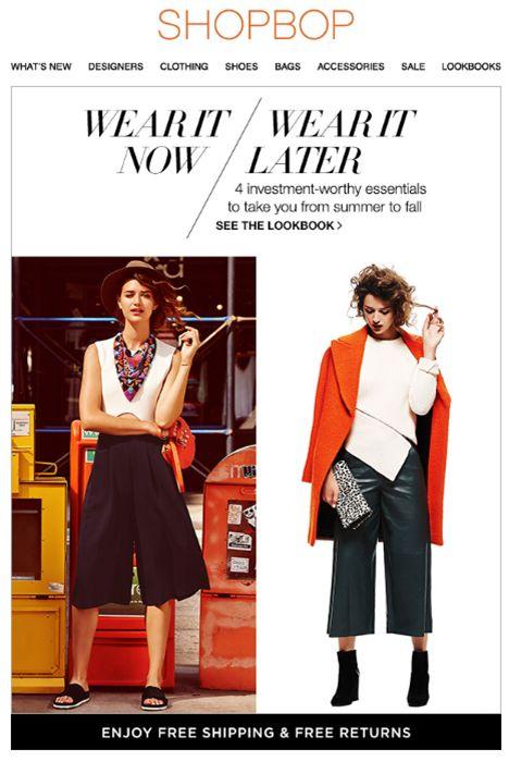 """SUB: """"Summer? Fall? Both!"""" Shopbob ha creato una gallery che consiglia come indossare e abbinare lo stesso capo adesso e durante la prossima stagione. Interessante!"""