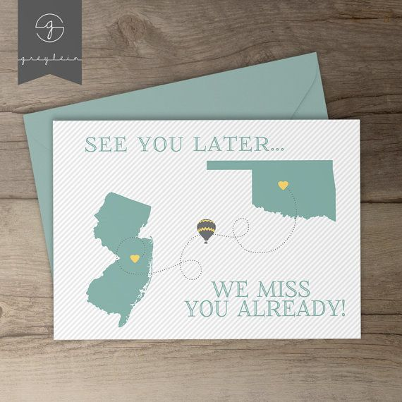 Moving away gift / card / best friend moving away / present / going away party sign / decoration / state cut outs / hot air balloon • by greylein