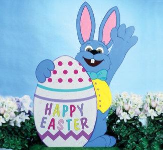 Happy Easter Waving Bunny Outdoor Wood SIgn Yard Art Lawn Decoration 4800 Via