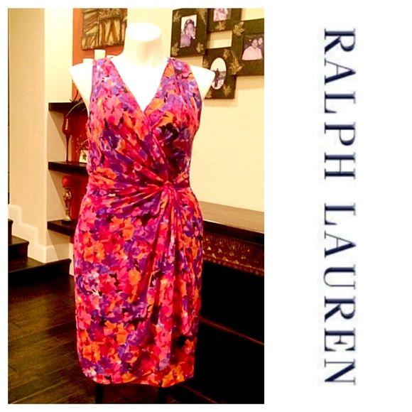 Raph Lauren Multi Faux Wrap Dress Fully lined dress in orange & purple pattern. Back zip closure / will list measurement details Ralph Lauren Dresses