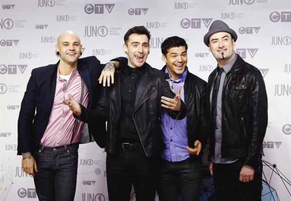 Members of the band Hedley pose on the red carpet during the 41st Juno Awards in Ottawa April 1, 2012. Photograph by: PATRICK DOYLE, REUTERS