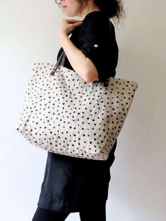 Hand Printed Linen Tote Bag Black Polka Dots - Brown Leather Handles
