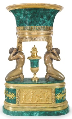 An impressive malachite and gilt-bronze centrepiece, probably Russian, circa 1840