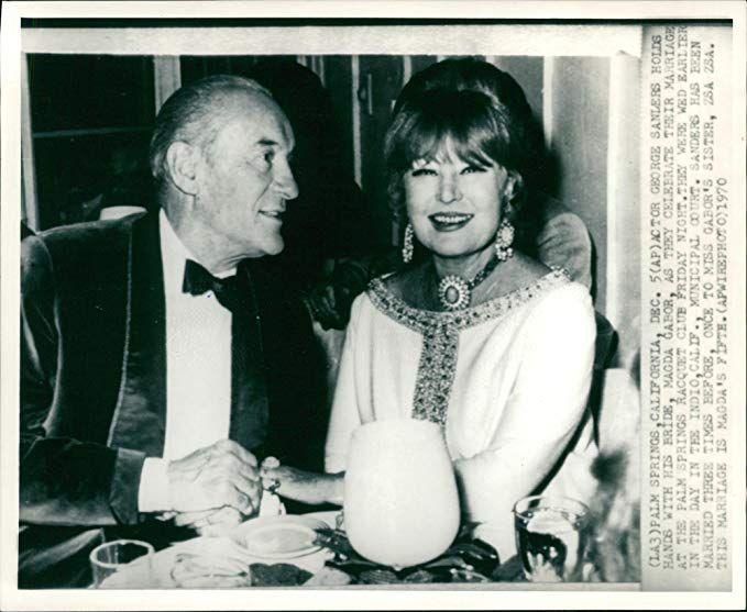 GEORGE SANDERS AND HIS BRIDE MAGDA GABOR | Magda gabor, Celebrity weddings,  Celebrities