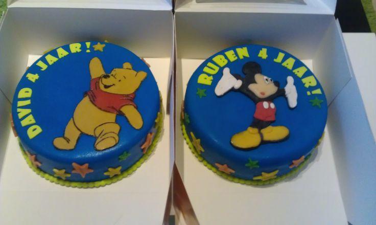 Winnie de Pooh taart en Mickey Mouse taart