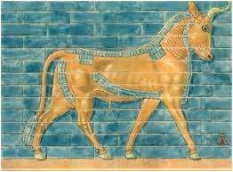Drawing of YELLOW bull relief on the Ishtar Gate, Babylon, from Ischtar-Tor in Babylon ~ by Koldewey  _____________________________ Reposted by Dr. Veronica Lee, DNP (Depew/Buffalo, NY, US)