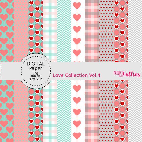 Digital scrapbooking Paper by ProjectGallias printables, mint, grey, white, pink, red, heart, love, valentine's day; Cyfrowy papier do scrapbookingu do samodzielnego wydruku, kolory: mięta, szary, biały, różowy, czerwony, serce, miłość