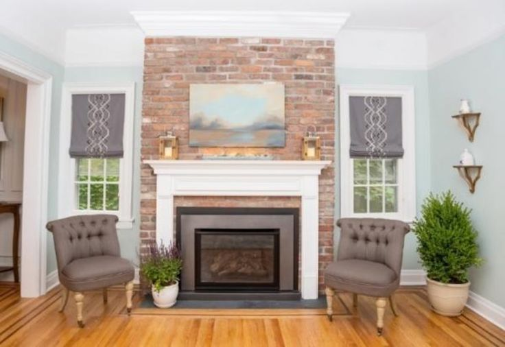 Brick fireplace surround in Mill Blend, Thin Brick Veneer as seen on Property Brothers.