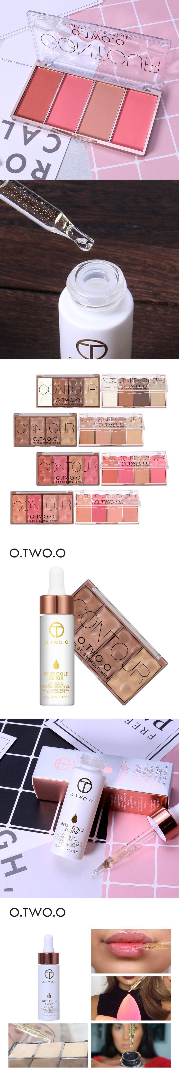 O.TWO.O 2pcs/set Face Make up 24k Rose Gold Elixir Skin Make Up Essential Oil +Contour Bronzer Blush Shading Face Powder Contour