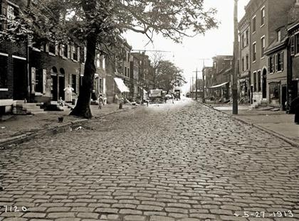 Christian Street, 1913  Between 2nd and 3rd Streets. Paved with Belgian Blocks which were used for ships' ballast, then off-loaded and used to pave Philadelphia streets.