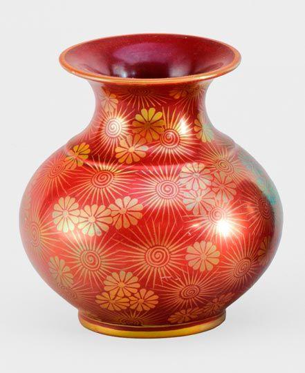 Zsolnay vörös arany virágos váza