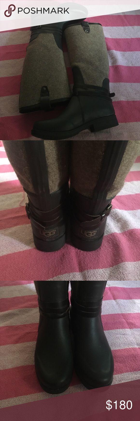Ugg Rainboots Australian UGG winter rainboot with lamb fur on the sole. Slightly worn good condition. UGG Shoes Winter & Rain Boots