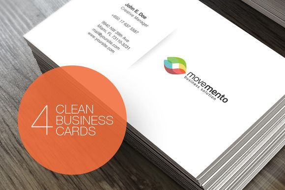 Check out 4 Clean Business Cards by Easybrandz on Creative Market