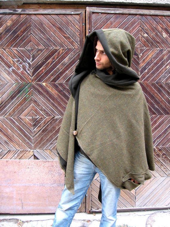 Elven Woodland Spirit Woolen Cloak, Medieval Fantasy ...