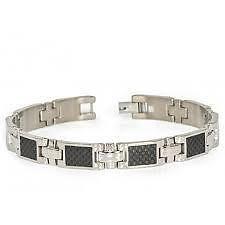 Titanium Bracelet With Carbon Fiber - Mens 8.5 Inch 10mm