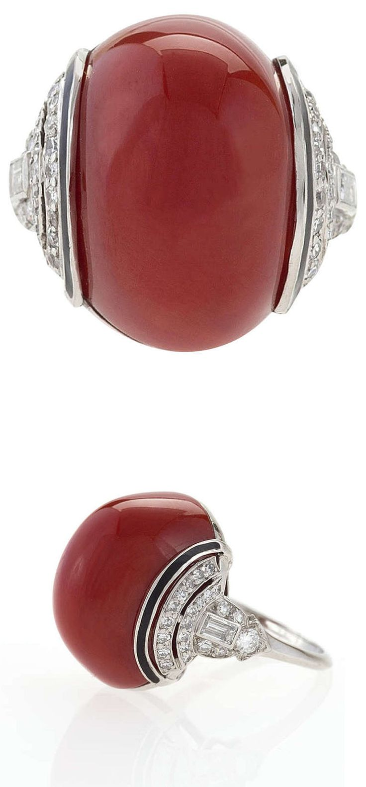 Red coral painting popular red coral print buy cheap red coral print - Art Deco Diamond Red Coral Enamel And Platinum Ring