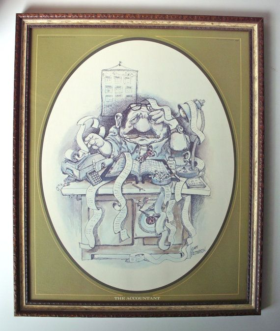 Jan Hagara Lithograph: Rare Vintage 1975 Gary Patterson 1407 The Accountant Print