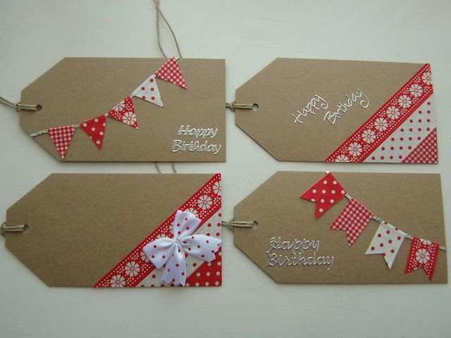 homemade gift tags with washi tape - cute! I have not really understood the craze with washi tape, but this is cool