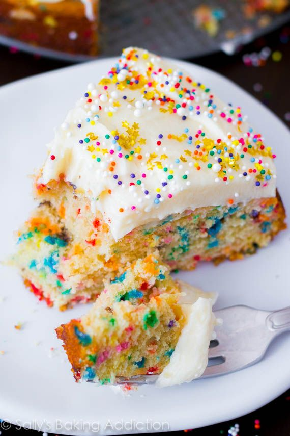Easy homemade funfetti cake recipe made completely from scratch.
